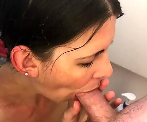 POV blowjob in shower cum in mouth and swallow