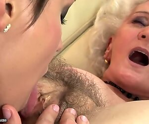 licking the hairy cunt of her crazy grandmother