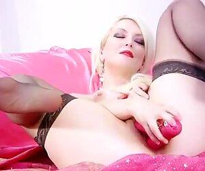 Cougar fucks her rabbit toy